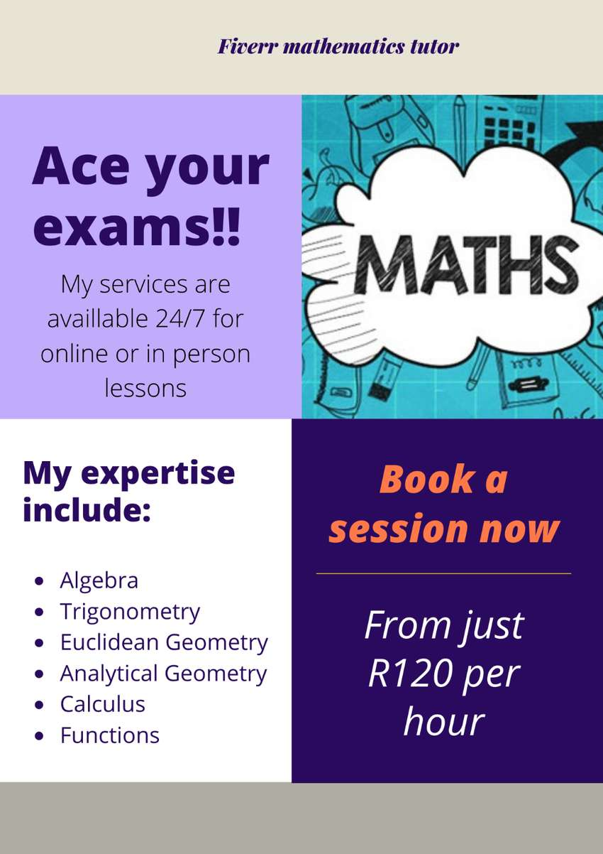 Maths tutor for grade 8-12 students