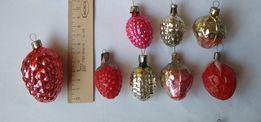 Игрушка новогодняя (стекло) СССР шишки, орехи, желуди, ягоды, виноград