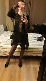Платье с безрукавкой с фатина эко- кожа платье +накидка