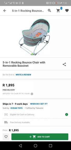 5-in-1 Rocking Bounce Chair with Removable Bassinet and Melody