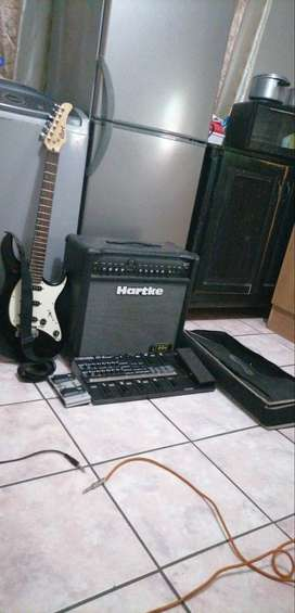 Amp, guitar and pedal