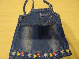 Jeansowa spódniczka, sukienka na szelki, 68, 100% bawełna, haft
