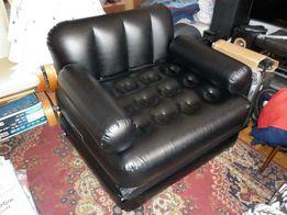 Krzesło Fotel Rozkładany Pompowany Camping, Czarne, Jak Nowe