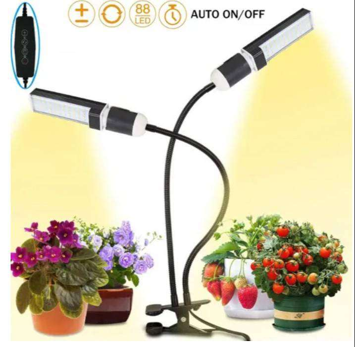 New! Black Dual Head Led Sunlike Full Spectrum Plant Grow Light with A
