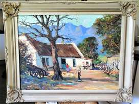 Don Madge Oil Painting, Cape Cottages with Figure