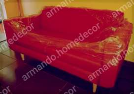 New red fabric 2 seater couch with wood legs