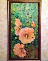 Красивейшая картина Мальвы. Холст, масло 120х60см Донецк(135х75см с ра