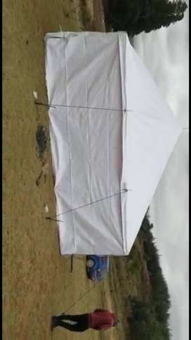 7m by 12m peg and pole white tent