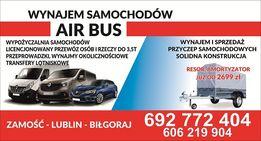 Wynajem busa DOSTAWCZE osobowe 9os. transport wypożyczalnia przyczepek