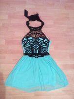 Śliczna miętowa-koronkowa sukienka
