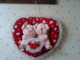 Мягкая игрушка, сердце, поросята, свинки, подвеска