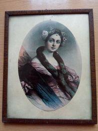 Ok. 100-letni obraz damy (zdjęcie przyklejone na karton)