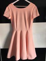 Szyta na miarę rozkloszowana sukienka 40 L morelowa pudrowa elegancka