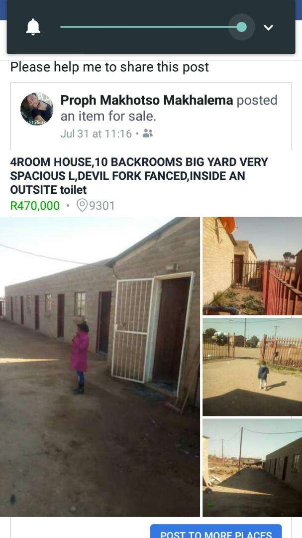 Fenced 10 Back Rooms and 4room house, inside  and outside toilet it 0