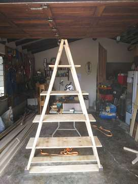 Two Foldable Wooden Shelves For Sale