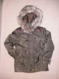 Ciepła zimowa kurtka parka c&a 128 stan idealny(jak nowa)