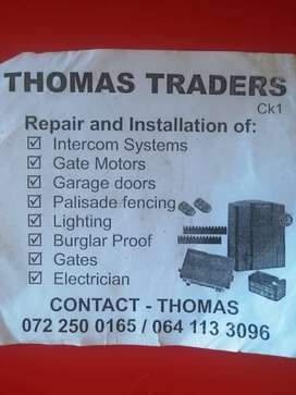 Tomas traders in electric fences and gates motors installation