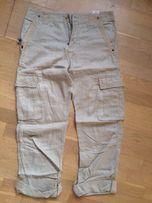 Spodnie lniane Cottonfield Cargo rozm. 32/34 beżowe M