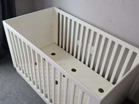 Solid wooden baby cot (includes 2 mattresses and wedge)