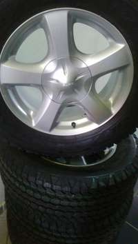 """Image of new 17"""" Isuzu mags with 255/65/17 good year wrangler A/T tyres"""