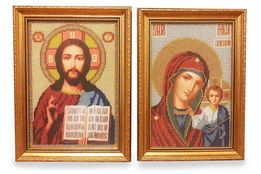 Продам картину иконы вышиты бисером венчальная пара