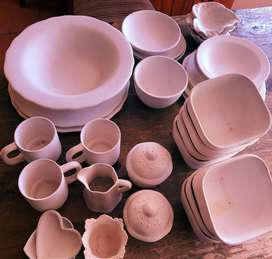 Ceramic Bisque Pottery Plates Cups Bowls to Paint or Glaze Yourself