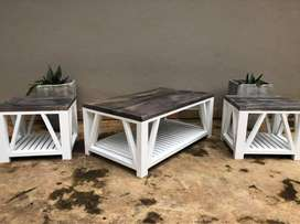 Handmade Farmhouse-style coffee and side tables