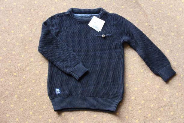 Nowy klasyczny granatowy sweterek r.92 Reserved Warszawa - image 1