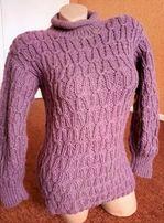теплый вязаный свитер плотный самовязка кофта под горло водолазка