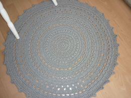 Dywan, ze sznurka bawełnianego 5 mm, dywan okragły, szary