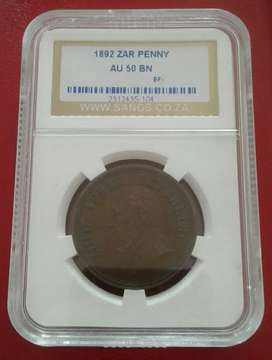 Excellent 1892 ZAR Kruger penny SANGS AU50 BN (high grade)