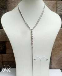 Silver Necklace and Earrings 0