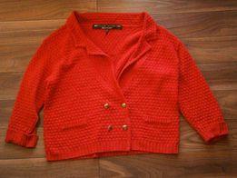 Sweter River Island czerwony XL zapinany na guziki