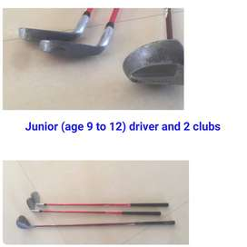 Preloved Junior driver and 2 golf clubs