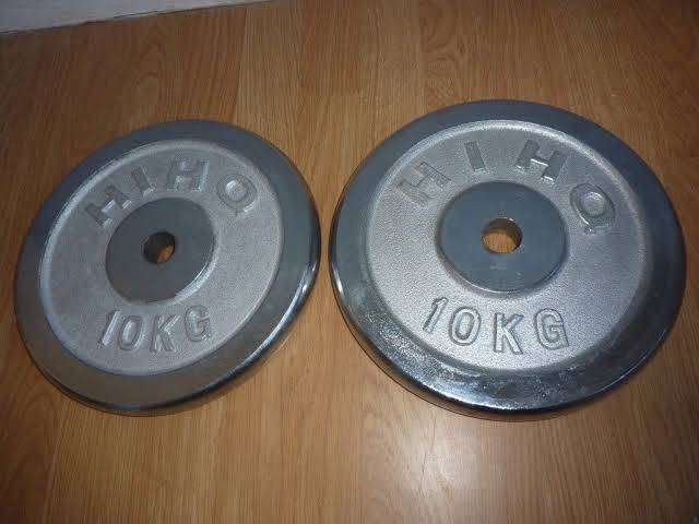 A Pair of 10kg Chrome dumbbell plate 0