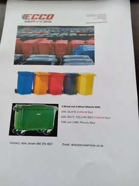 Wheelie bins for sale.