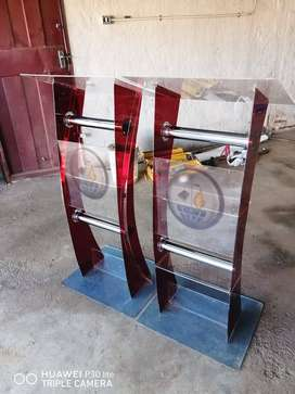 Red C Shape Perspex Pulpit
