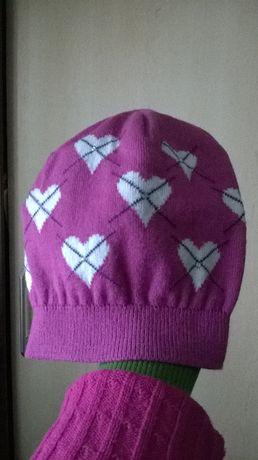 Różowa czapka w serduszka na dziewczynkę 9-11 lat Podłęże - image 2