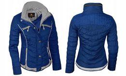Super pikowana wiosenna kurtka damska Nowa niebieska rozmiar M