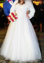 Okazja! Piękna suknia ślubna ciąźowa r.40+++ ,stan idealny + gratisy.