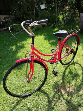 Red ladys bicycle,