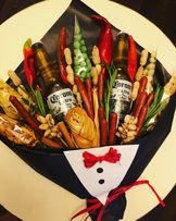 Букет из фруктов, овощей, колбасы, подарок шефу , мясной букет