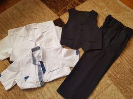 Spodnie garniturowe kamizelka koszule 140