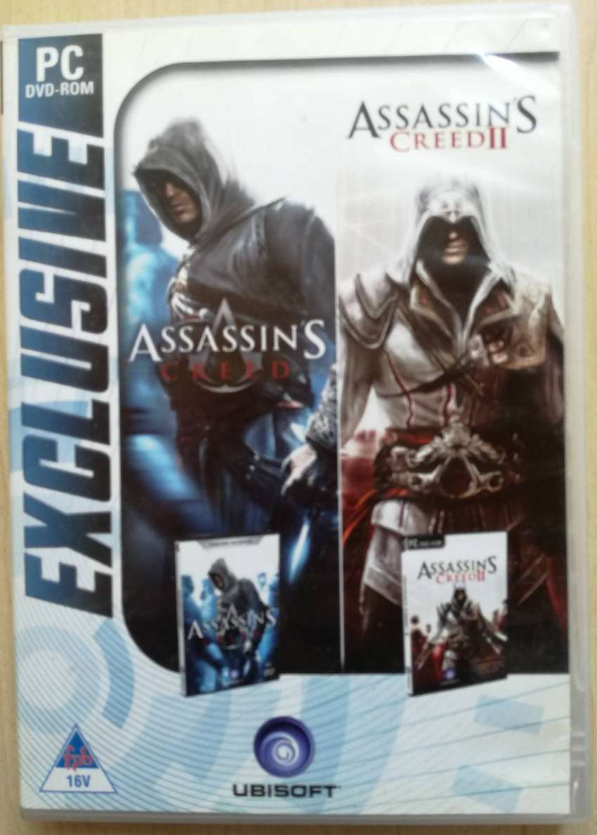 PC DVD ROM GAME ASSASSINS CREED l & ll 2 disk set 0