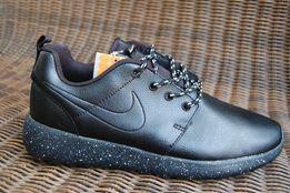 -60 % Мужские кожаные кроссовки ботинки красовки NIKE Roshe Run черные
