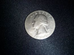 Монетa копeйка Либерти США Guarter dollar 1/4$ Liberti 1984г Перевёрты