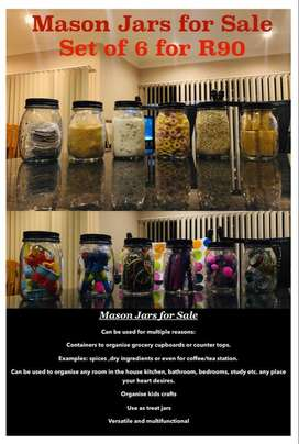 Set of 6 Mason & drinking jars for sale hurry while stocks last