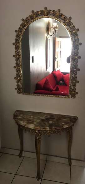 Brass entrance table and mirror