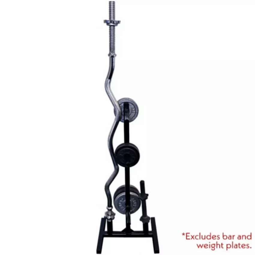 Weight plate tree and barbell bar rack storage holder