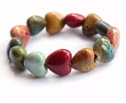 Bransoletka ceramiczny kamień w kształcie serca